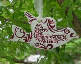 Best Christmas Wishes Ceramic Dove Christmas Ornaments