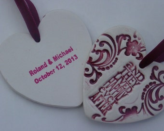 Personalized Happily Ever After Ceramic Wedding, Christmas, Newlywed or Anniversary Ornament