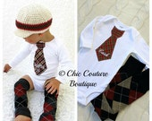 Baby Boy  Autumn Thanksgiving 2013 Personalized Tie Bodysuit & Leg Warmers. Burnt Orange, Warm Browns, Deep Red Plaids, Hounds Tooth Damask