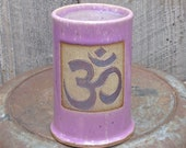 Om/ Ohm Sign Handbuilt 14 oz. Clay/Pottery Coffee Cup/ Mug in Pink/Raspberry/Orchid