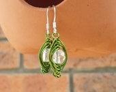Wire Wrapped Earrings, Clear Quartz Earrings, Clear and Green Earrings, Handmade Jewelry, UK Seller