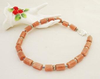 Sunstone and Hematite Necklace, Peach Pink Necklace, Gemstone Necklace, UK Seller