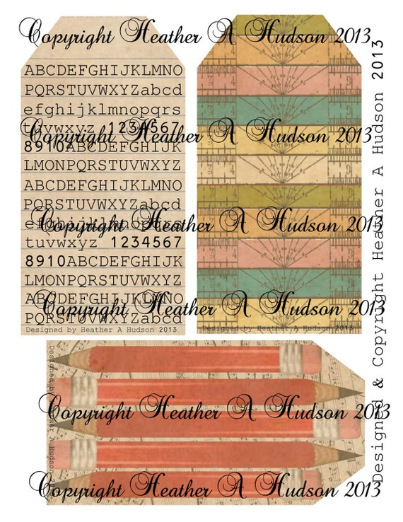 Vintage Back to School Tags  Ruler Pencil  Paper Digital Collage sheet