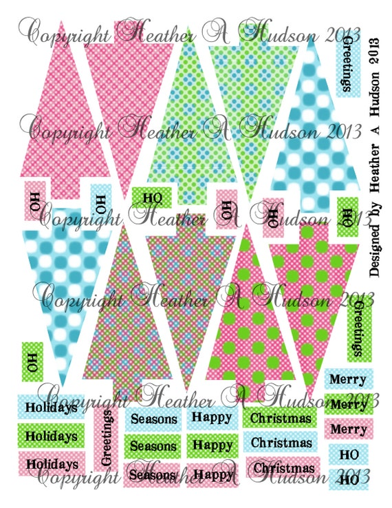 Non Traditional Christmas Tree  tags  Digital Collage sheet Printable