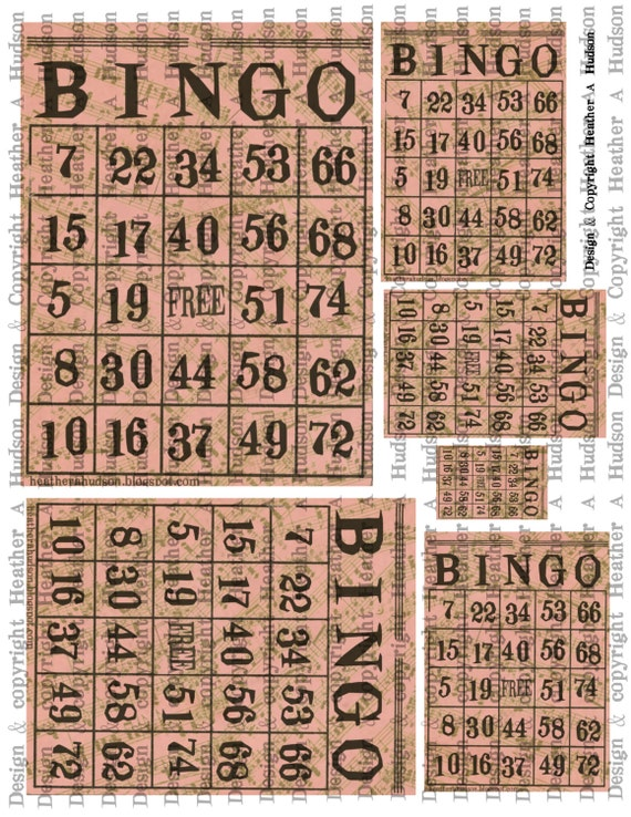 Vintage Pink Bingo cards Music Digital Collage sheet Printable