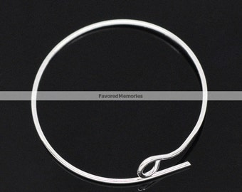 200pcs. Silver Plated Unbent Wine Charm/Earwire Hoop Rings - 25mm- 21 Gauge