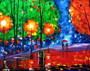 couple paintings love rain rainy park quiet alley night 36x24 in. original oil painting artist Mariana Stauffer impressionist palette knife