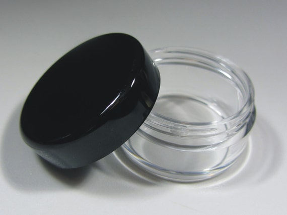 BMS Cosmetic Containers Plastic Makeup Jars - 10 gram (black lids) 5068-50B | 50 Empty Jars | Free US Shipping