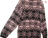 Vintage Large Pink & Black Snowflake Acrylic Knit Gitano Womens 1980s Pullover Sweater Made In USA