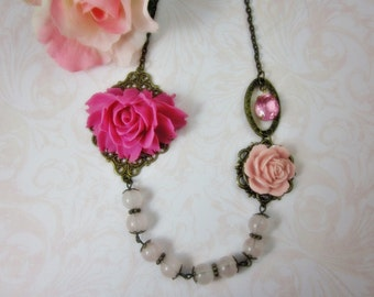 Perky Pink Rose Necklace. Gift for her. Anniversary, Birthday, Maid of Honor.