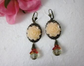 Pale Peach Rose Earrings.  Lovely Gift for her.