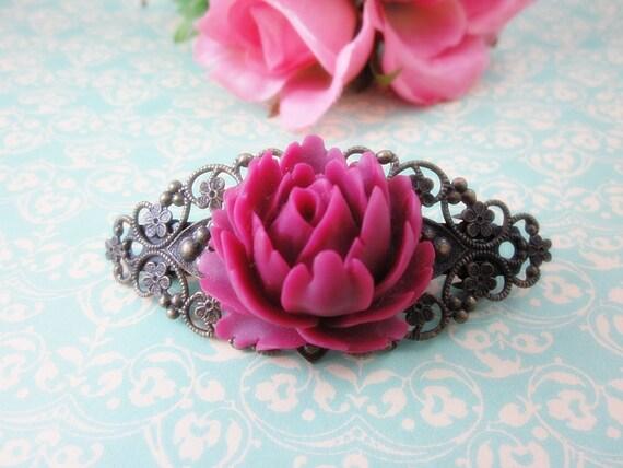 Velvet Wine Rose Hair Clip Barette. Bridal Jewelry.  Gift for her.  Birthday, Christmas.