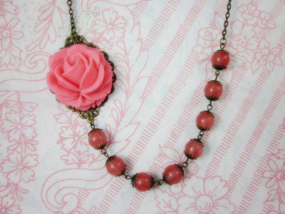 Pink Vintage Rose with cherry stone beads Necklace. Gift for her.  Anniversary, Birthday, Maid of Honor