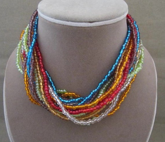 Long Multi Strand Glass Bead Mixed Color Necklace