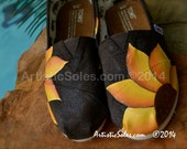 Sunflower Power Hand Painted TOMS Shoes - Chocolate Brown Canvas - Wedding Features