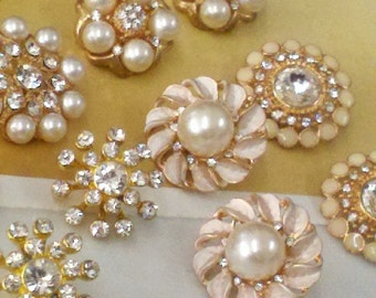 Gold Metal Rhinestone and Pearl Buttons.  Assorted  10 Pieces.