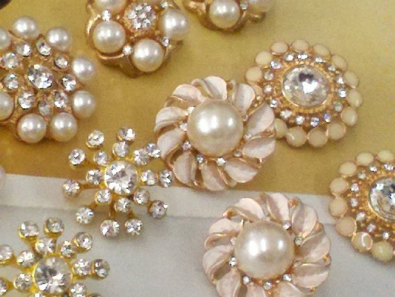 Gold Metal Rhinestone And Pearl Buttons Assorted 10 Pieces