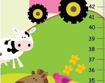 Girls Farm Animal Children Bedroom Nursery GROWTH CHART Wall Art