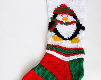 Knit Penguin Christmas Stocking - personalize