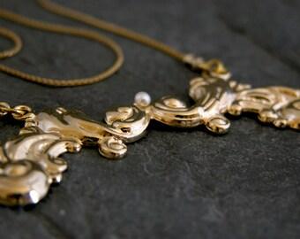 Gold vintage Necklace, Gold Pearls Wedding Necklace, Bridal jewelry, Pearl and Gold Necklace, Brides Necklace, Vintage Inspired Necklace
