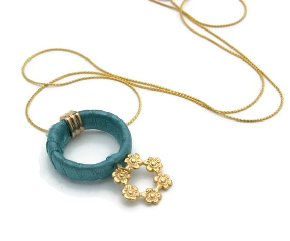 Gold Necklace with Turquoise Satin Hoop,