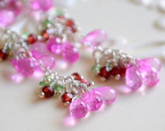 Long Hot Pink Topaz Earrings Green Tsavorite Red Garnet Bright Fuchsia Elegant Wire Wrapped Sterling Jewelry Complimentary Shipping