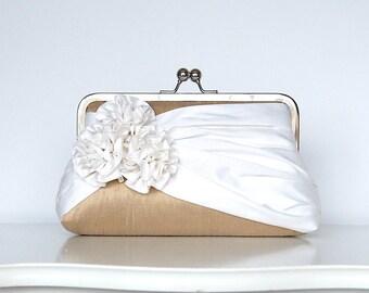 Roses Silk Clutch in Tan and Ivory, Wedding clutch, Wedding purse, Bridesmaid clutch