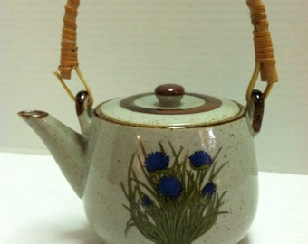 Vintage 1970's Ceramic Teapot with Flowers Rattan Handle Takahashi