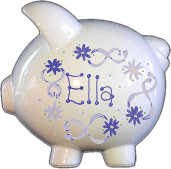 Hand painted ceramic large piggy bank with lavender flowers for How to paint a ceramic piggy bank