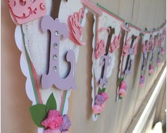 Handmade Banner - Custom made - GO GREEN - Name Pennnant Banner Happy Birthday Baby Shower Bridal Shower Tea Party