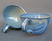 Set of 2 Deep Sides Chowder Bowls Soup Cereal Handles Cornflower Blue