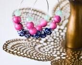 Scandinavian Style Blue and White Ceramic Flower Beaded Hoop Earrings