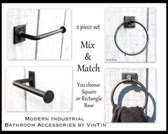 Discount Blacksmith Set BEST Seller Hand Forged Iron Modern Industrial Bathroom Toilet Paper Holder & Towel Ring by VinTin (Item # D-1110)