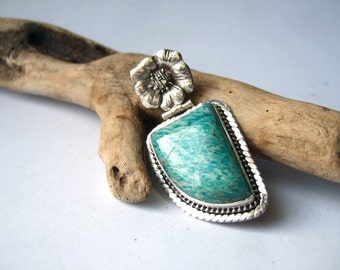 Amazonite and  Silver Pendant - Destash
