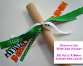 Basketball Bow Hair Streamer Ponytail Holder PERSONALIZED with your name and colors