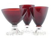 Vintage Red Glasses - Cranberry Gothic Desert Drinking Ruby Display Serving Barware Glassware Trio