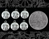 Silver Plated Brass Moonface Charms Three pairs of 2   S-C109