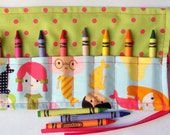 Crayon Roll Up Crayon Holder Cotton Shabby Living Country Mermaids - Holds 8 Crayons
