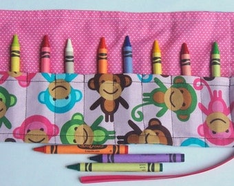 Crayon Roll Up Crayon Holder Pink Monkeys In Spring - Holds 8 Crayons