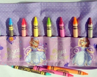 Crayon Roll Up Crayon Holder  Princess Sofia / Sofia The First - Holds 8 Crayons
