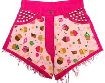 HypoxicAndLost - Handmade - Pink Cupcakes Cut Off high waisted denim Shorts