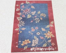 Miniature Oriental Art Deco Rug Offered in Four Sizes for Dollhouse or Playscale