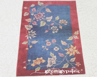 Miniature Oriental Art Deco Rug Offered in Three Sizes for Dollhouse or Playscale