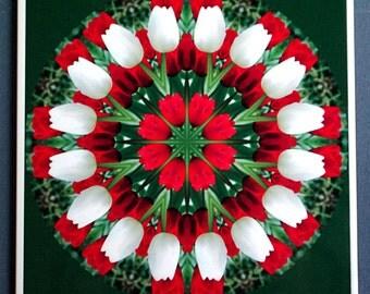 Tulip mandala ceramic tile floral kaleidoscope trivet, red white green photo, all occasion gift, spring garden decorated tile wall art T440