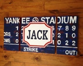 large modern nursery art- personalized triptych painting- vintage scoreboard football baseball - varsity professional sports- navy blue red