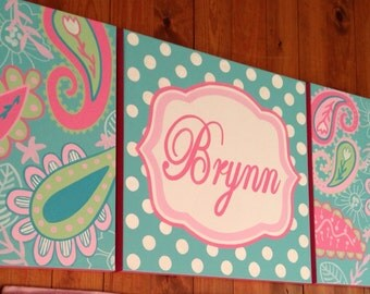large nursery art- personalized triptych- name monogram initials- hand painted- M2M my baby sam pixie aqua- pink paisley