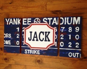 large modern nursery art- personalized triptych painting- vintage scoreboard football baseball - varsity professional sports- navy blue red