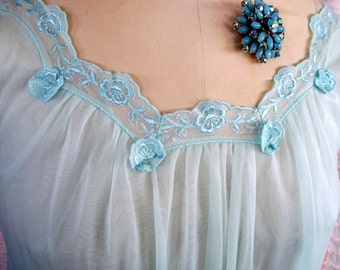 "Vintage Pale BLUE CHIFFON NIGHTGOWN, Sz.Small By ""Lorraine"", Shimmering Satin Embroidered Flowers & Appliques, Romantic Lingerie"