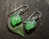 Green glass jewelry. Wire wrapped emerald sea glass earrings from Spain. Natural sea glass