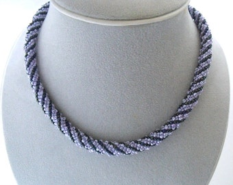 Lilac, blue necklace bead jewelry seed bead woven necklace